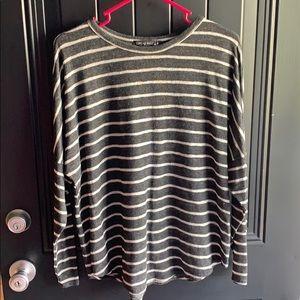 Dark grey and white striped shirt